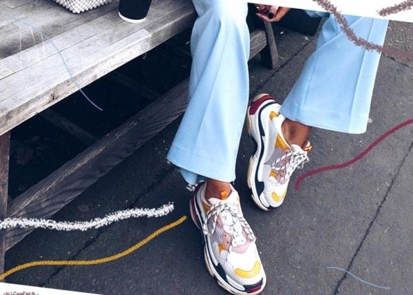 Close no Chunky sneaker multicolorido