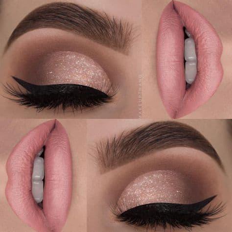 Combinação de sombra e batom para usar com vestido rosa