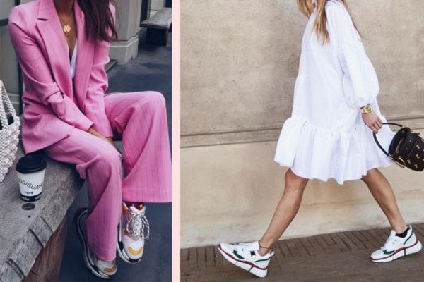Dois looks femininos com Chunky sneaker coloridinhos