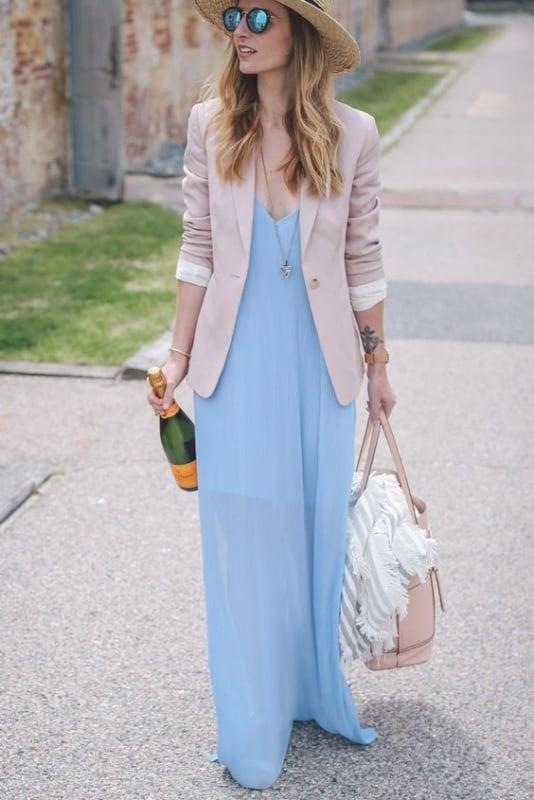 Estilo casual com vestido longo