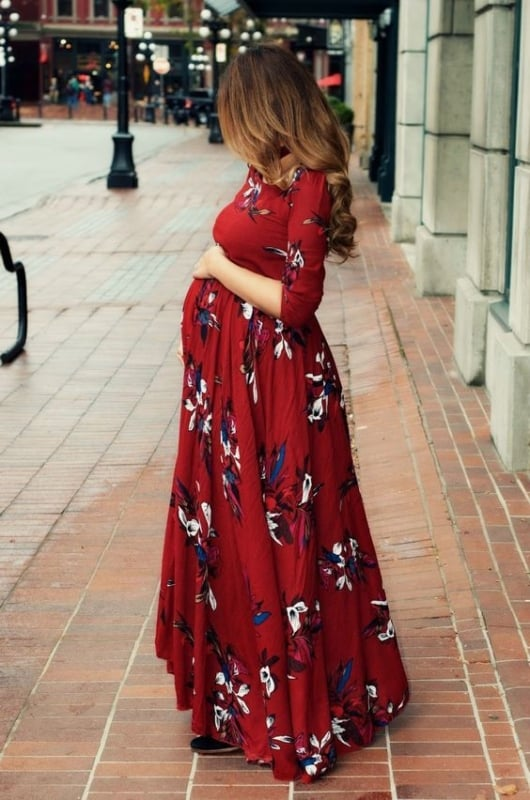Gestante com Modelos de vestidos longos