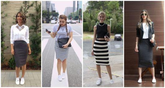 Lindos looks com modelos de saias lápis listradas