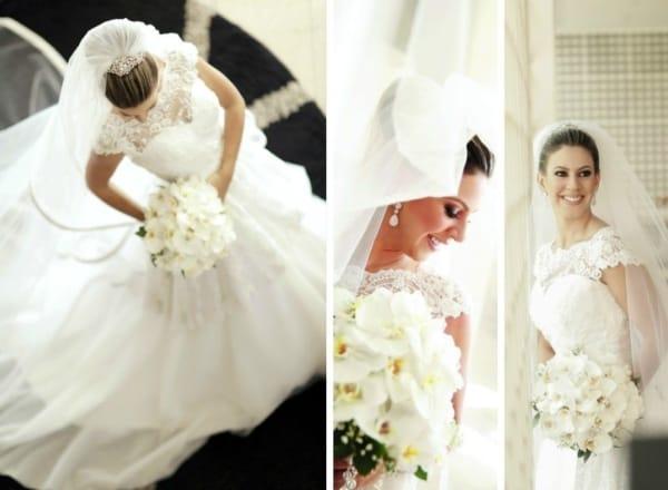Look de noiva com véu e grinalda