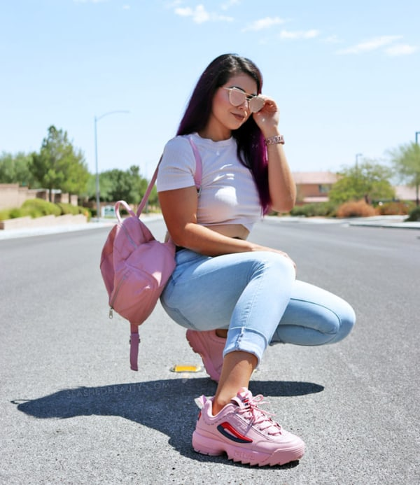 Look do dia a dia com chunky sneaker rosa