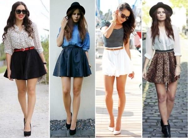 Looks com modelos de saias godê curtinhas