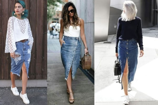 Looks com saias jeans comprimento midi