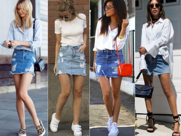 Looks com saias jeans curtinhas