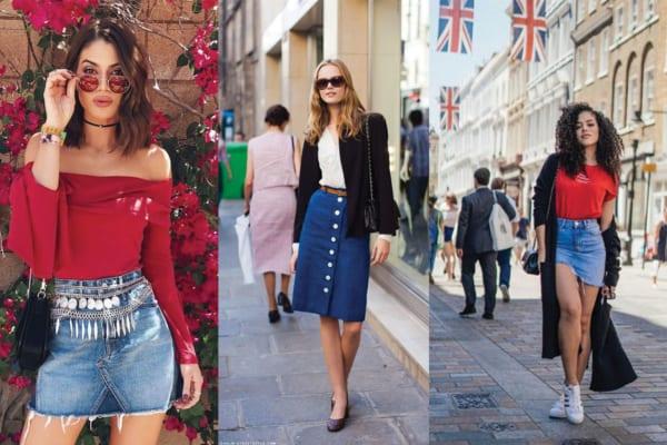 Looks com saias jeans de diversos estilos