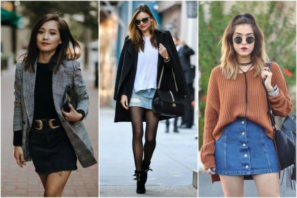 Looks de inverno e outono com saia jeans