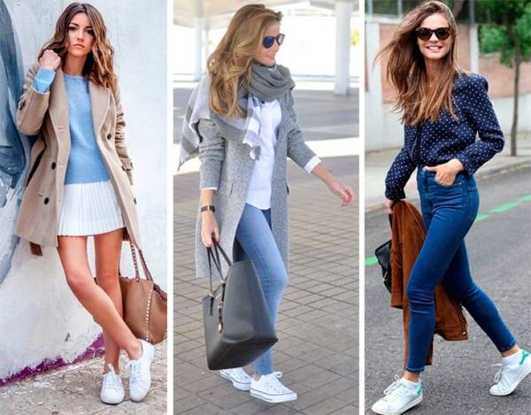 Looks de inverno e verão com tênis branco