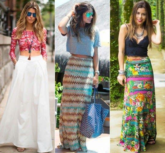 Looks diversos com modelos de saias longas