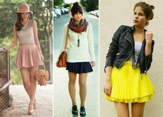 Modelos de saias plissadas de variados estilos
