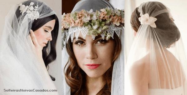 Niovas com véu e grinalda de flores