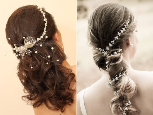 Penteados de noivas com pérolas pequenas