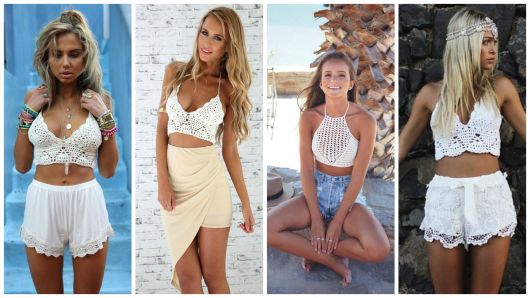 Quatro opções de looks com top branco de crochê