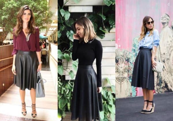 Modelos de saias de couro midi