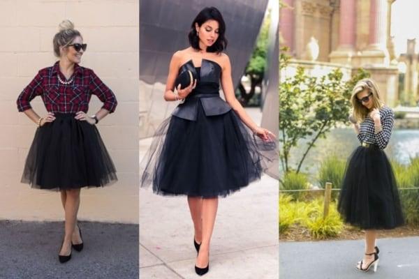 modelos de saias de tule preta para criar vários looks