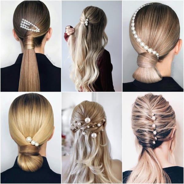 Seis penteados com pérolas