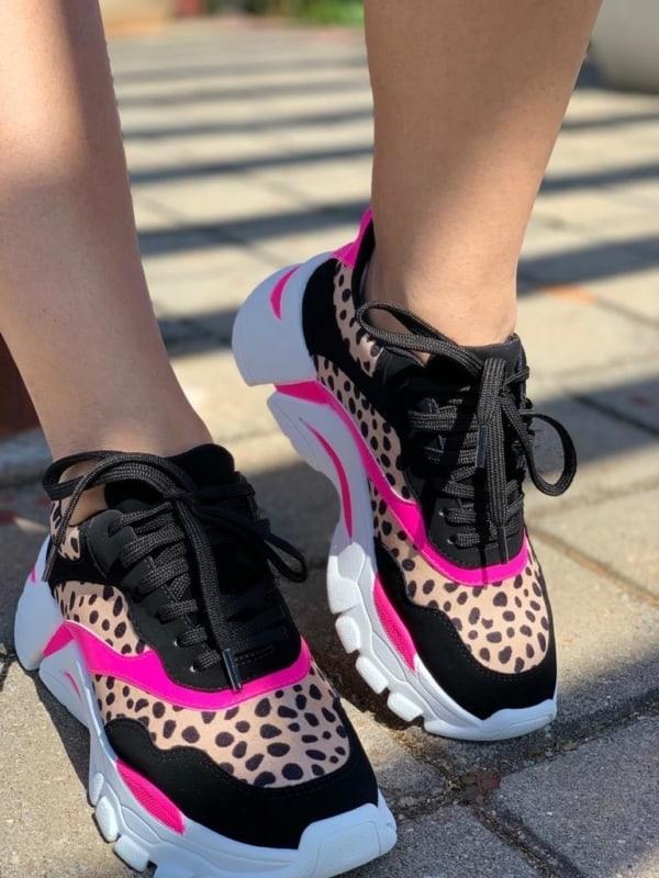 Chunky sneaker com estampa de onça