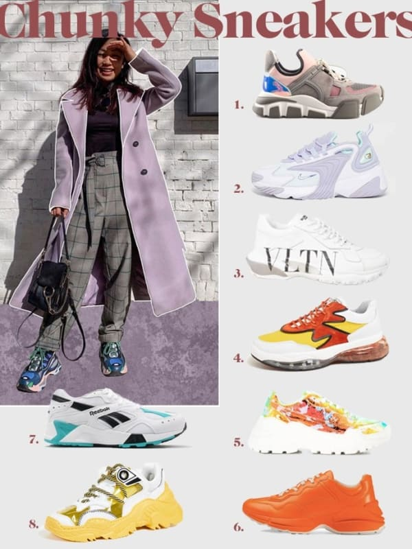 Tendência do tênis chunky feminino sneakers