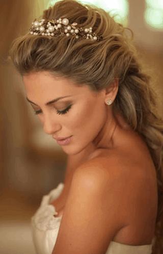 Tiara de pérolas para noiva