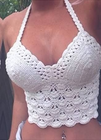 Top frente única de crochê branco