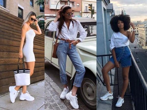 Três ideias de looks lindos com tênis chunky feminino branco