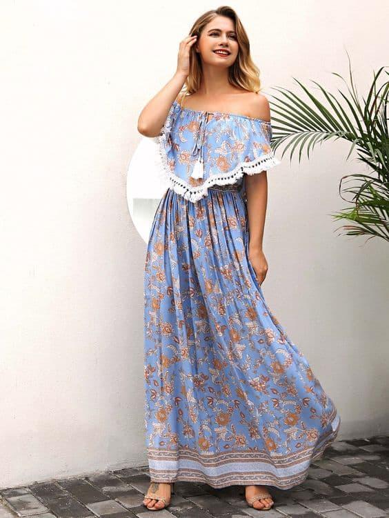 Vestido azul floral ciganinha