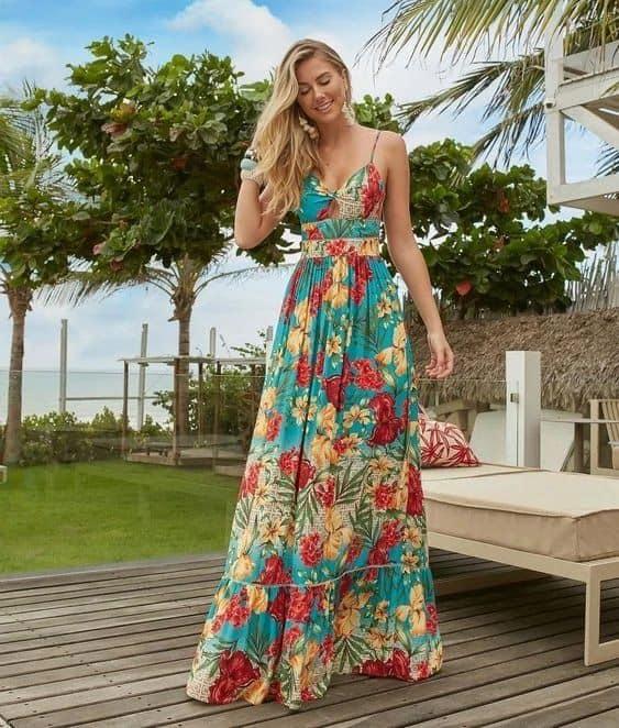 Vestido de alcinha estampado para o verão