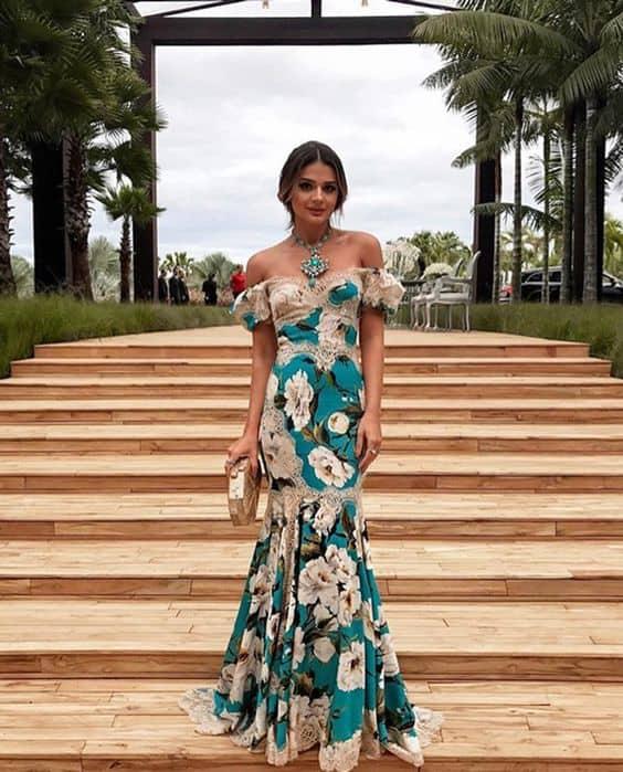 Vestido florido ciganinha da Thássia Naves