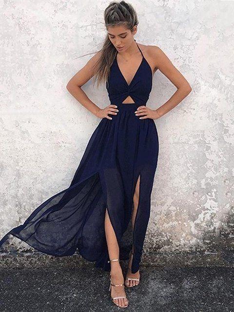 Vestido frente única azul marinho com fenda dupla