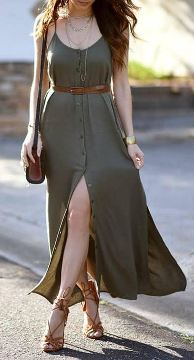 Vestido longo com botões casual