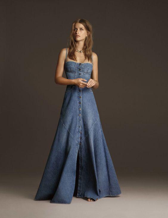Vestido moderninho jeans longo