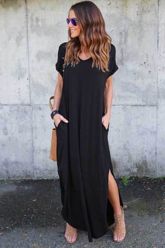 Vestido preto casual longo