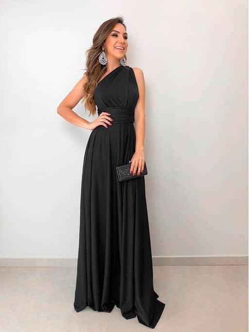 Vestido preto longo simples