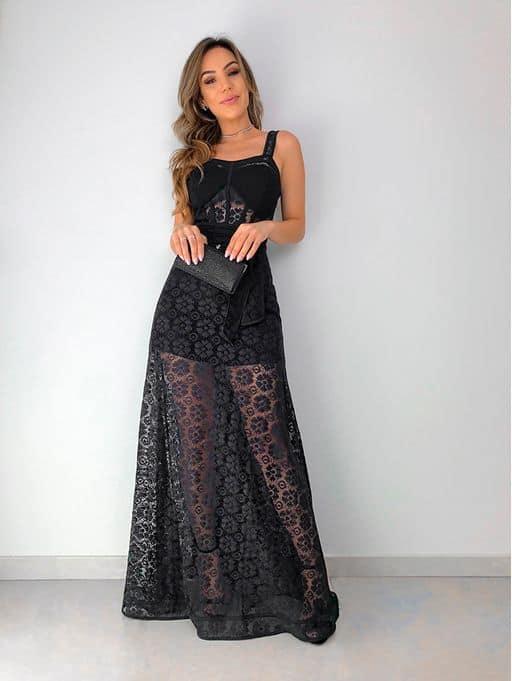 Vestido rendado preto longo