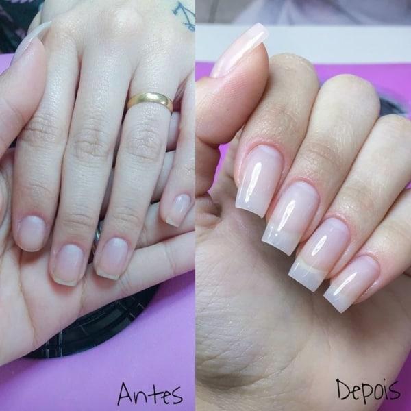 antes e depois da aplicação das unhas de porcelana 15