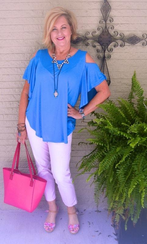 blusas para idosas azul