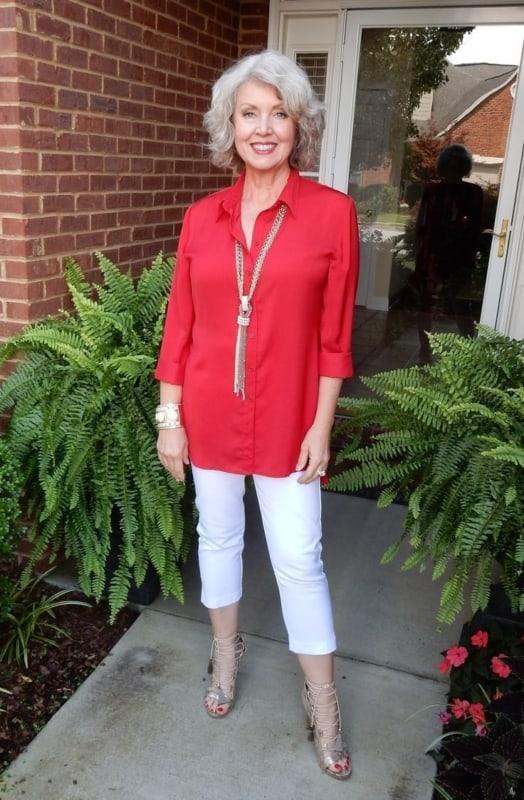 blusas para idosos manga longa vermelha