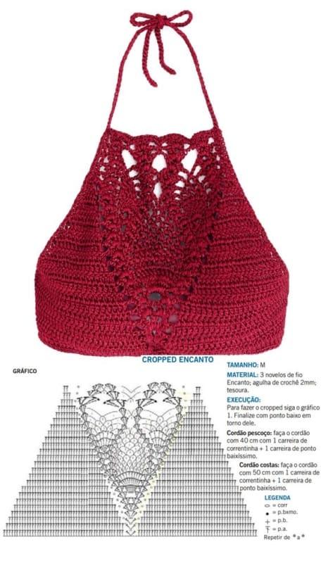 gráfico top cropped de crochê