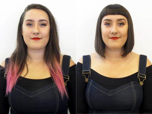 mudança de cabelo com franja