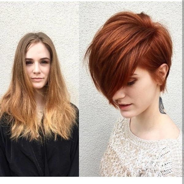 mudança de cabelo loiro para ruivo