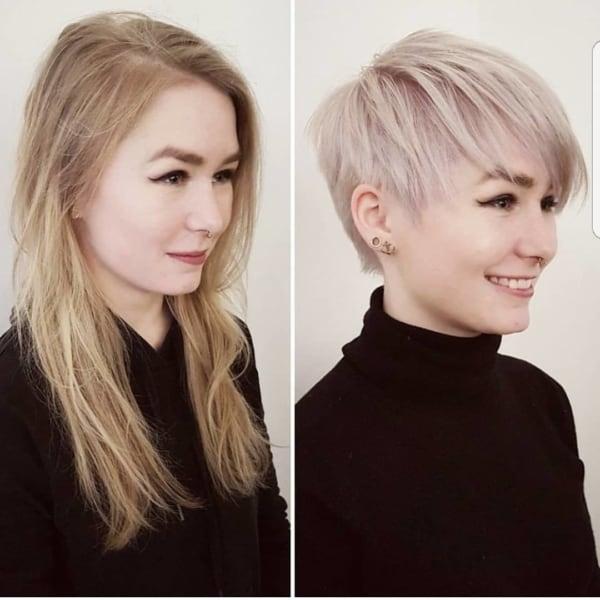 mudança de cabelo longo para curtinho