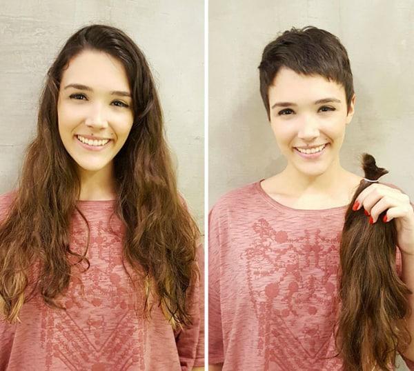mudança de cabelo longo para curto