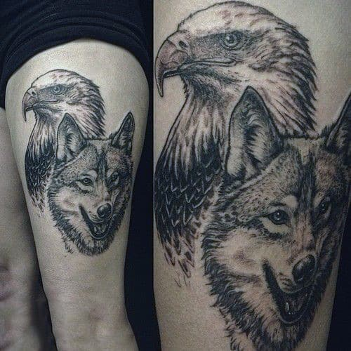 tatuagem de lobo e aguia