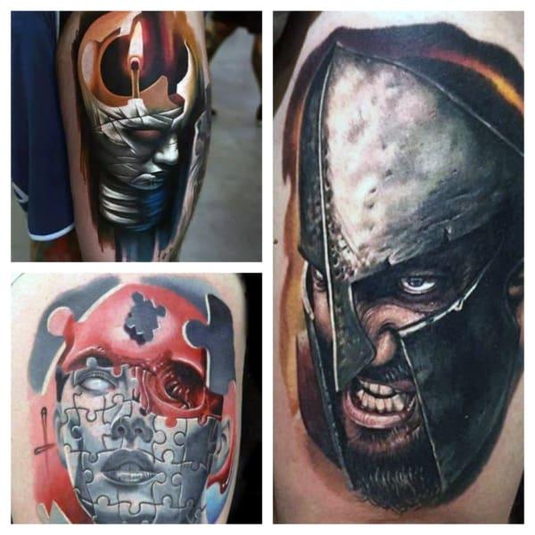 tatuagem na coxa masculina colorida