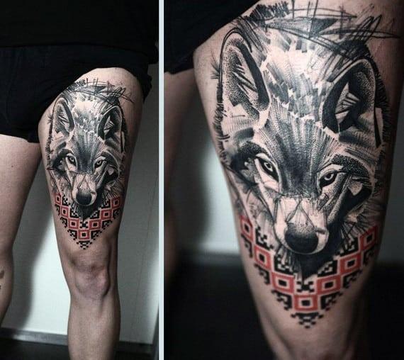 tatuagem na coxa masculina lobo