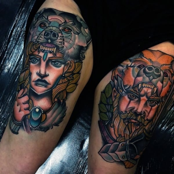 tatuagem na coxa masculina old school conceitual