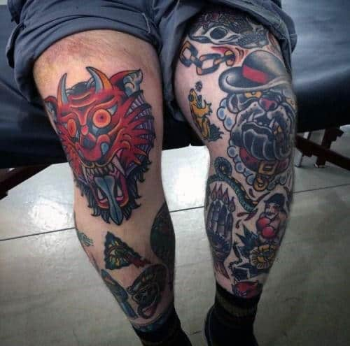 tatuagem na coxa masculina old school ideias