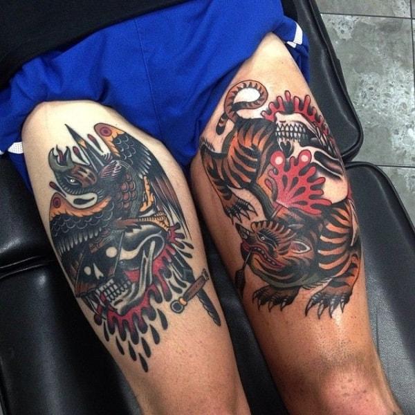 tatuagem na coxa masculina old school
